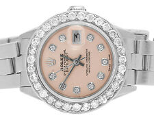 Ladies Stainless Steel 26MM Rolex Datejust Oyster Pink Dial Diamond Watch 2.5 Ct
