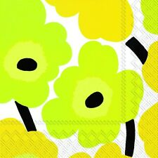 UNIKKO yellow Marimekko yellow 60's  flowers paper lunch napkins new 20 in pack