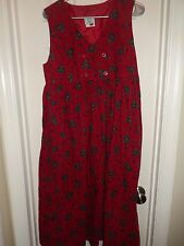 LAURA ASHLEY Red Corduroy Floral Sleeveless Jumper Dress Size 10