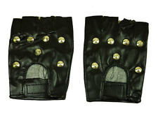 Black Stud Gloves Punk Goth Studded Biker Roker Fancy Dress