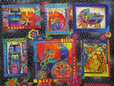 Rare Laurel Burch 2007 Fanciful Felines Cotton Fabric ~ PARTIAL PANEL  6 Blocks