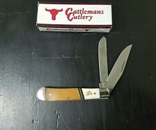 CATTLEMANS CUTLERY RAWHIDE TRAPPER FOLDING POCKET KNIFE CC0002RS