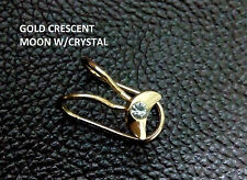 **LUXURY**Golden Crescent Moon Crystal Ear cuff Clip on Non Pierced ears 1 PC