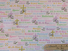 A Joyful Easter Rejoice! Religious Fabric by the 1/2 Yard  #23719