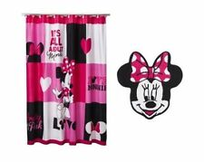 "Disney Minnie Mouse Shower Curtain Fabric 72""x72"" Pink White Black"