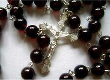 Sterling 925 Silver Rare Garnet Gemstone ROSARY CROSS CRUCIFIX CATHOLIC NECKLACE