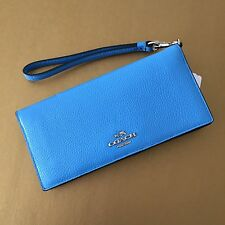 NWT Coach Azure Navy Colorblock Leather Slim Wallet Phone Wristlet Clutch 53759