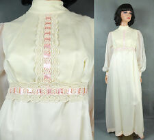 Vintage Wedding Gown XS 60s 70s Hippie Dress Ivory White Chiffon Lace Pink Satin