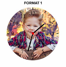 Personalised Custom Photo Wall Clock Round Shape | Black Red Blue White | 23.5cm