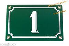 Plaque émaillée verte & blanche NUMERO de RUE 1 émail enamel plate street number