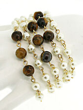 Gold and Cream Pearl with Acrylic Tigers Eye Look Beads Wrap Bracelet