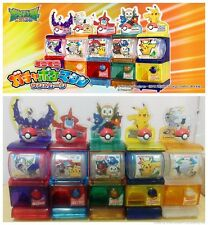 TOMY Pokemon SUN & MOON Mini Vending Machine Gashapon x5 Rowlet Popplio Rotom