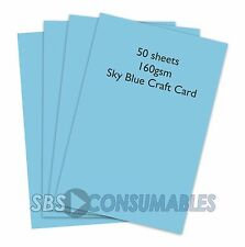 50 SHEETS A4 160gsm CLAIREFONTAINE COLOURED CRAFT CARD - SKY BLUE - 1106