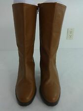 CLOUD WALKERS  WOMENS BROWN LEATHER ZIP SIDE BOOTS WOMENS SIZE 9W