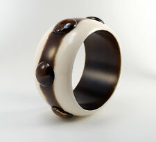 Statement Runway Chunky Wide Brown White Applied Raised Polka Dot Plastic Bangle