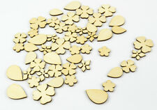 50x Mixed Wood Craft Shapes/ Flowers and Leaves/ DIY Project / Beads / Supplies