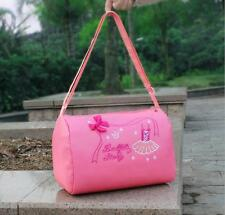 Kids Girls Child Ballet Dance Bag Shoulder Embroidery-Tutu Tote Duffle Bow Pink