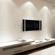 3D Pure Textured White Brick Stone Contact Paper Viny Wallpaper Roll 10x0.53m
