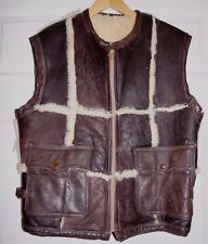100% Shearling Made in USA Brown Patchwork Zip Flight Flying Aviator B3 Vest M