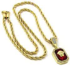 """Mens 14k Gold Plated Red Ruby Medusa Face Pendant Hip Hop 24"""" Rope Chain D416"""