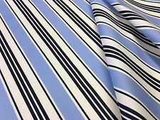 PAVILION STRIPE PU COATED NAVY BLUE C170 WATER REPELLENT SHOWERPROOF FABRIC