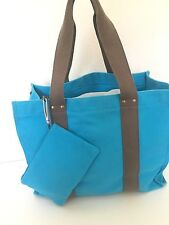 Garnet Hill Canvas Tote Bag Cosmetic Turquoise Hip Two Piece