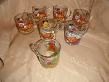 lot of 7 garfield mc donald's  jim davis 1978 glass cups