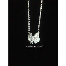 Gorgeous Petite Silver Fox Pendant Link Necklace Chain Silver Plated