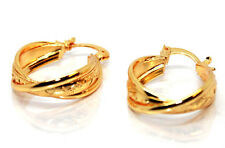 LARGE 18CT REAL YELLOW GOLD FILLED TWISTED CREOLE EAR 8MM THICK HOOP EARRINGS