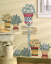 Country Garden Sign Post Flowers Flower Pots Wall Murals Decals Stickers Borders