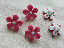 6 x Kids Buttons Clothing Sewing Knitting Card Making Pink Flower