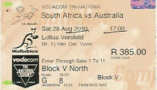 SOUTH AFRICA v AUSTRALIA 2010 RUGBY TICKET