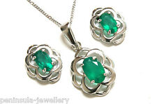 Sterling Silver Green Agate Celtic Pendant and Earring Set Gift Boxed Made in UK