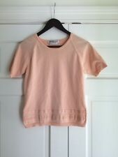 Salvatore Ferragamo Italy Vintage Womens Top Sweater Peach Ribbon Detail Sz S