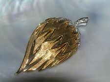 Vintage Boucher Signed Goldtone Domed Flower Seed Pod with Clear Rhinestone Top