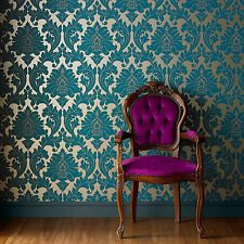 Superfresco Easy Paste The Wall Majestic Damask Teal Metallic Wallpaper 30-435