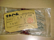 10 PIECES MADE IN JAPAN RIKEN OHM RM 1K +/-5% 1/2W AUDIO GRADE CARBON RESISTOR