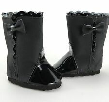 "Black Suede Bow Boots - sized for American Girl® & other 18"" dolls"