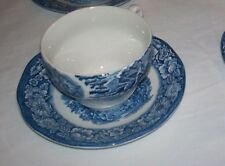 Staffordshire Liberty Blue China cup and saucer set stoneware