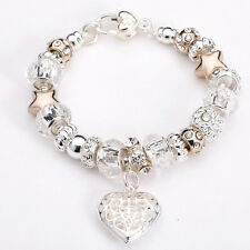 New Fashion European Murano Glass Beads&Silver Women's Charm Bracelet XB175+Box