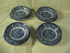 Liberty Blue Staffordshire Set Of Four Desert Bowls & Saucers Betsy Ross/ Montce