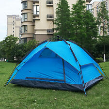 Blue Instant Automatic Pop Up Backpacking Camping Hiking 4 Persons Tent