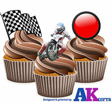 Speedway Bike Flag Red Light Mix - 12 EDIBLE WAFER CUP CAKE TOPPERS STAND UPS