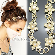 Bridal Gold Flapper Daisy Flowers Pearl Crown Chain Head Hair Dress Piece Band