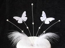 Handmade White 3d butterflies cake topper with white beads and feather