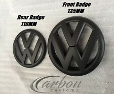 VW Golf MK6 09-12 Matte/Matt Black Front & Rear Boot Badge Emblems - UK SELLER -
