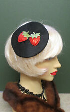 1940s LOOK BLACK FELT HAT WITH SPARKLY CHERRY  DECORATION