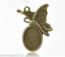 Antique Bronze Butterfly Cameo Charm, Pendant Cabochon Setting, 32mm x 24mm