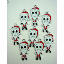 8 pcs Nightmare Before Christmas SANTA Jewelry Making Metal Pendant Charm + GIFT