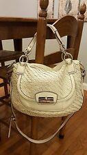 COACH White Leather Basketweave Tote Shoulder Cross Body Handbag